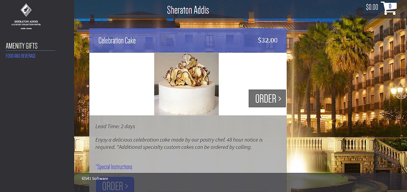 Sample Screen of the Sheraton Star Amenity Online Ordering Service